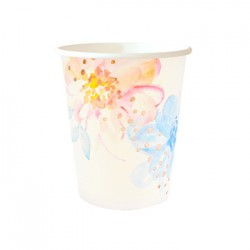 Floral Rose Gold 9oz Paper Cup, 10pcs