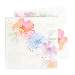 Floral Rose Gold Luncheon Napkin, 20pcs