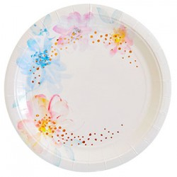 "Floral Rose Gold 9"" Paper Plate, 10pcs"