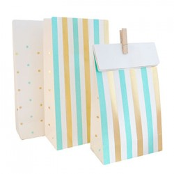 Gold & Mint Green Stripes & Spots Paper Treat Bag, 10pcs