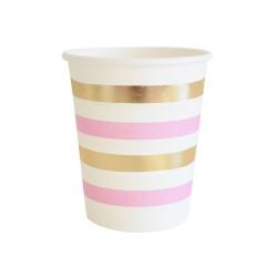 Gold & Pink Stripes 9oz Cup, 10pcs