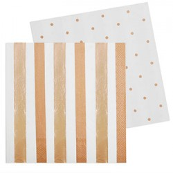 Rose Gold Stripes & Spots Napkin, 20pcs