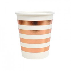 Rose Gold Stripes 9oz Paper Cup, 10pcs