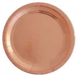 "Rose Gold Foil 9"" Paper Plate, 10pcs"
