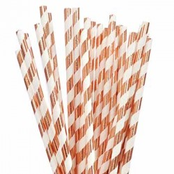 Rose Gold Foiled Striped Paper Straw, 25pcs