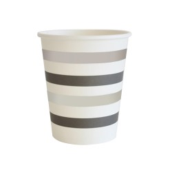 Silver & Black Stripes 9oz Cup, 10pcs