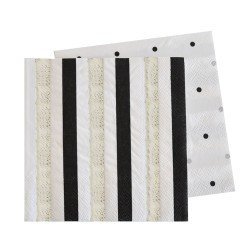 Silver & Black, Stripes & Spots Napkin, 20pcs